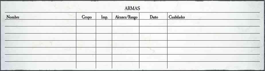 Armas Warhammer RPG