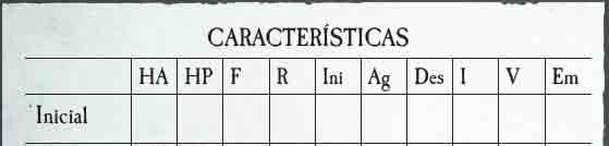 Atributos iniciales en Warhammer RPG 4a Ed.