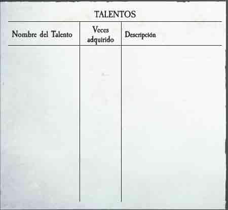 Talentos Warhammer RPG 4a Ed.